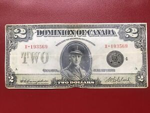 1923 DOMINION OF CANADA $2 BANKNOTE: CAMPBELL-CLARK SIGNATURES