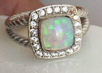Designer Inspired Petite Albion Ring with Opal & Diamonds  Size 7 8 9
