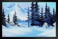 Bob Ross Winter Mountain Art Print Painting Framed Poster 12x18