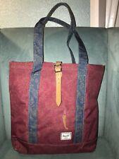 Herschel Burgundy Blue Canvas Tote Bag Shoulder Bag
