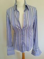 Hawes & Curtis Ladies Long Sleeve Blue Lilac Striped Shirt Hipster Size 8 New