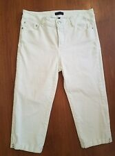 NYDJ Not Your Daughters Jeans White Jean Cuffed Capri size 10 Lift Tuck Stretch