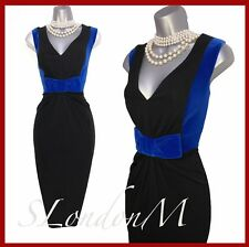 Karen Millen 14 Black Jersey Blue Velvet Bow Party Evening Pencil Dress
