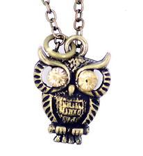 Vintage retro style crystal eye bronze owl pendant necklace