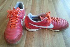 Nike Tiempo Mens Leather Athletic Shoes Size 11 Orange/White 509090