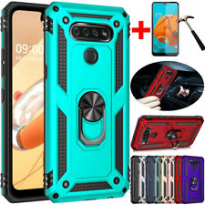 For LG K51/Q51 Shockproof Armor Ring Stand Hard Rubber Case Cover+Tempered Glass