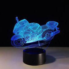 LED 3D Illuminated Illusion Light Desk Micro USB MOTOR BIKE 7 Colour Change