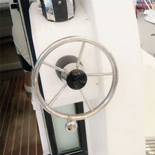 "Boat Stainless Steel 11"" Steering Wheel With Knob 19mm 5 Spoke For Marine Yacht"