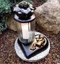 Grablaterne Grablampe Grableuchte Teelicht Grablicht Kerze Engel Grabstein Neu