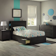 Gray 4 Piece Twin Size Side Storage Headboard Bed Set Home Bedroom Furniture
