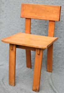 Vintage Russell Wright Conant Ball American Modern Maple Peg Plank Chair 1935
