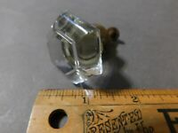 VINTAGE ANTIQUE ART DECO  DRAWER PULL KNOB GLASS WITH SCREW (43)