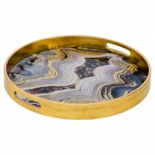Small Circular Gold Tray With Oyster Design Golden Blue