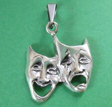 Mexican 925 Silver Taxco Comedy Tragedy Drama Theater Face Mask Actor Pendant