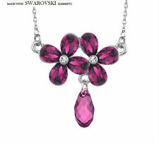 Brand New Swarovski Element Purple Flower Crystal Stone Choker Necklace Pendant