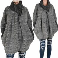 WOLLE PONCHO STRICK JACKE PULLOVER MANTEL 36 38 40 42 44 S M L ÜBERGANG WINTER