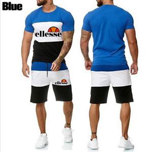 Hot 2Pcs Mens Short Sleeve Tracksuit Set T-shirt Tops Shorts Gym Jogging Suit UK