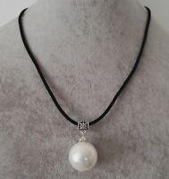 riesige 20mm weiße Muschel Perle Anhänger schwarzes Leder Halskette