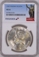 :1947 S1-BALBOA PANAMA KM# 13 RARE SPOTLESS GEM-BU NGC MS-65 BLAST-WHITE LOW-POP