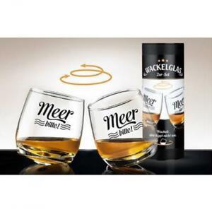 Wackelglas Whiskyglas 2er Set Meer bitte Geschenk für Whiskyliebhaber Wisky