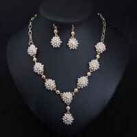 Fashion Women Chain Necklace Pendant Choker Pearl Statement Earrings Jewelry Set
