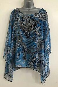 ex NEW Plus Size 16-30 Blue Zebra Print Lined Chiffon Batwing Tunic Blouse Top