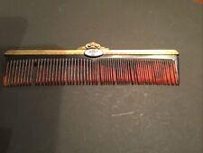 Vintage Ladies Comb With Blue Enamel Medallion