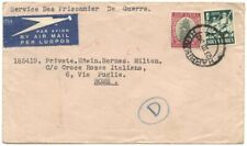 "South Africa 1942 ""POW"" Air cover to Italian Red Cross in Rome w/HARRISMITH cds"