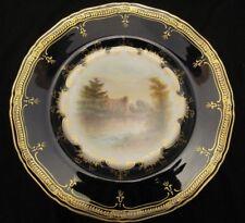 A Royal Worcester Landschaft Platte antik C1902 Warwick Castle unterzeichnet