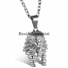 Mens Womens Egyptian Pharaoh Stainless Steel Charm Vintage Pendant Necklace