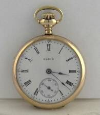 MENS LADIES SMALL ELGIN 33mm WHITE DIAL GP POCKET WATCH 26.5g 33mm NOT WORKING
