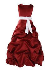 Burgund Blumenmädchen Kleid Party Brautjungfer 1-12 Jahre Schärpe IN 10 Farben