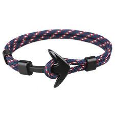 Men's Bracelet Blue Anchor Black Jewelry