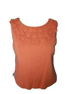 Women's Orange Pullover Blouse Sleeveless Tank Crocheted Neck size 1X #GYB