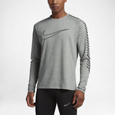 NWT $80 Nike Breathe (City) Tumbled Grey Heather Men's LS Running Top 833572-037