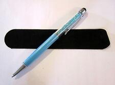 Aqua Blue Ballpoint Pen w/ Stylus Crystalline-Made using Swarovski Crystals