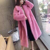 Pink teddy Bear Max Mara Style Coat Size L 100% Wool