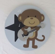 Kidsline Mouse Playing Guitar Oval Wall Hanging Blue/Brown/Black Musical