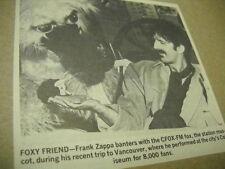 FRANK ZAPPA meets Vancouver CFOX-FM mascot original 1980 media promo pic/text