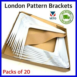 White SHELF BRACKETS London Metal Shed Garage Garden BULK BUY BOX of20