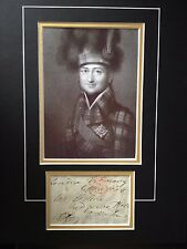 JAMES DUFF - EARL OF FIFE - ARMY GENERAL FOUGHT NAPOLEON - SIGNED PHOTO DISPLAY