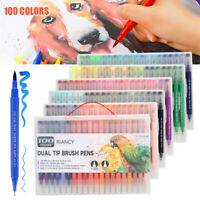 100* Aquarell Stift Set Farben Kalligraphie Pinselstifte Doppelspitze Textmarker