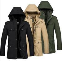 Mens Winter Jacket Fur Lining Coat Hoodie Design Fashion Warm Smart Parka