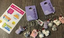 Claire's Fuzzy Christmas 10 Keychain Lot Bear Panda Penguin + Justice Stickers