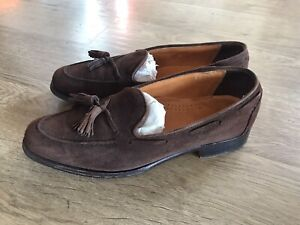 Used Vintage Cole Haan Suede Tassle Loafer Uk8 Us9 Brown Lesther Sole No Box