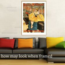 """Vintage art poster night at circus musical old painting for glass frame 36"""""""