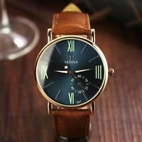 Sport Men's Stainless Steel Case Leather Band Quartz Analog Luminous Wrist Watch