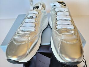 PRADA Patent Metallic Leather Sneakers Logo Silver Eur 37/ US 7