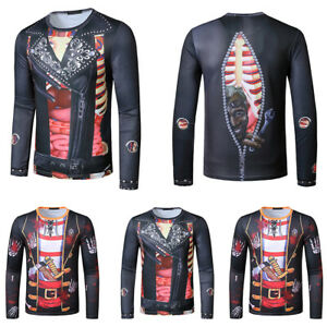 Mens Halloween Gothic Steampunk Long Sleeve Blouse T-Shirt Party Fancy Tops UK