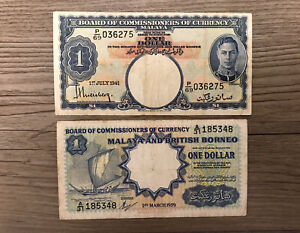 LOT OF 2 1941 - 1959 BOARD OF COMMISSIONERS OF CURRENCY MALAYA $1 DOLLAR